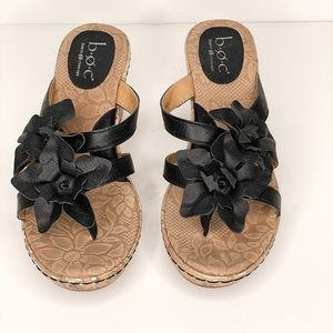 boc Black Wedge Sandals Leather Upper Size 8M